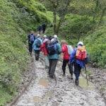 Hiking group in mud