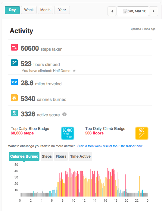 Fitbit data March 16th