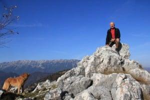 Geoff Jones on a rock