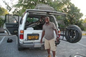 KG with the bike in the Land Cruiser